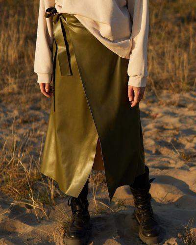 Кожаная юбка миди - хаки Karree