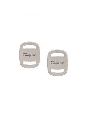 Серебряные серьги квадратные на кнопках Salvatore Ferragamo
