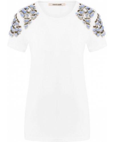 Белая футболка хлопковая Roberto Cavalli