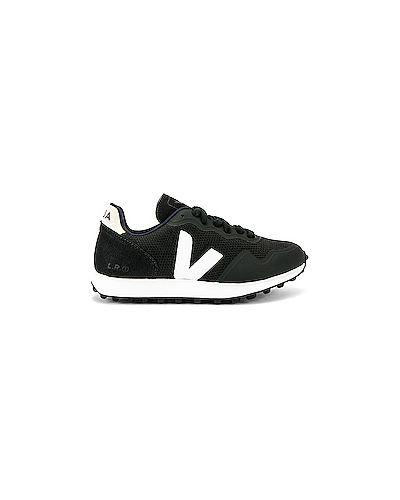 Черные текстильные кожаные кроссовки Veja
