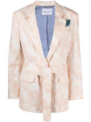 Розовый классический пиджак с поясом с запахом Hebe Studio