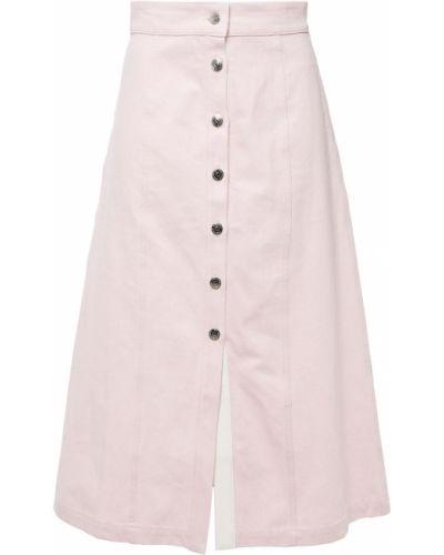 Różowa spódnica midi bawełniana z haftem Etre Cecile