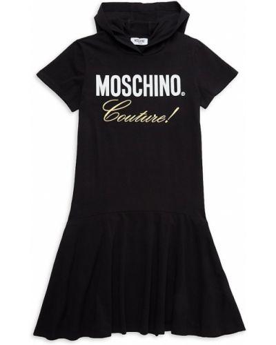 Черное платье с вышивкой с капюшоном Moschino