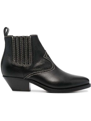 Кожаные черные ботинки на каблуке P.a.r.o.s.h.