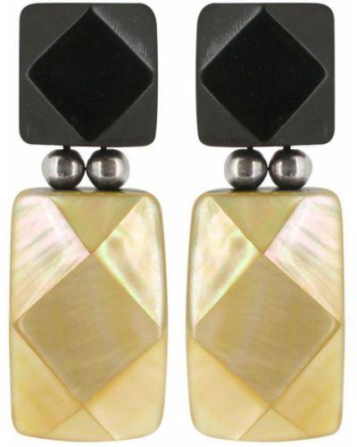 Черные золотые серьги с камнями Nature Bijoux
