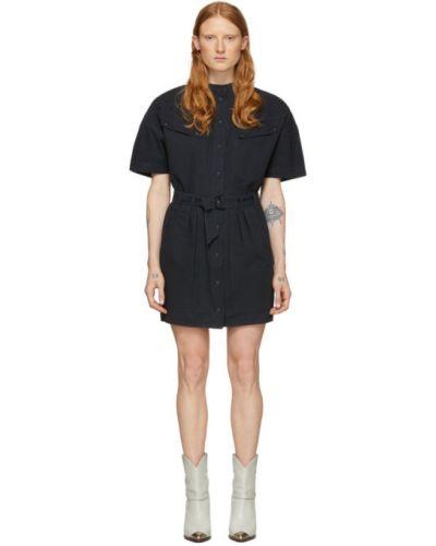 Платье с поясом с отложным воротником черное Isabel Marant Étoile
