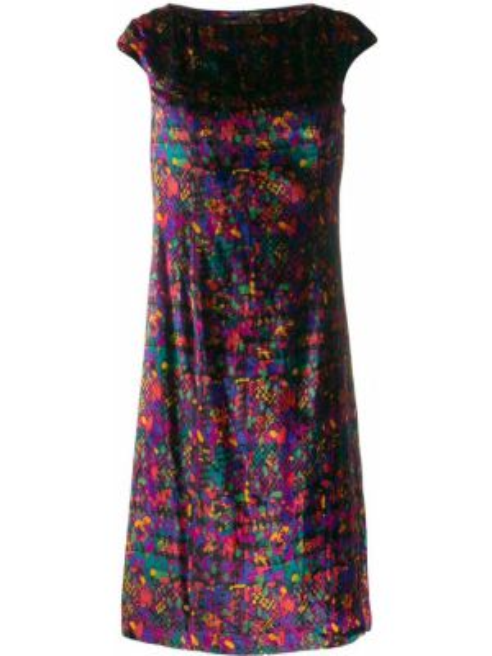 Черное платье мини с рисунком с вырезом круглое Versus Pre-owned