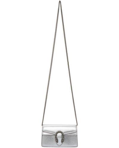 Srebro torebka na łańcuszku z prawdziwej skóry prążkowany Gucci