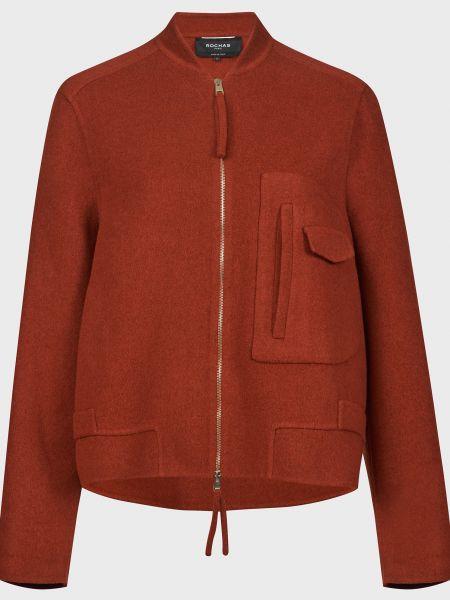 Оранжевое шерстяное пальто на молнии Rochas