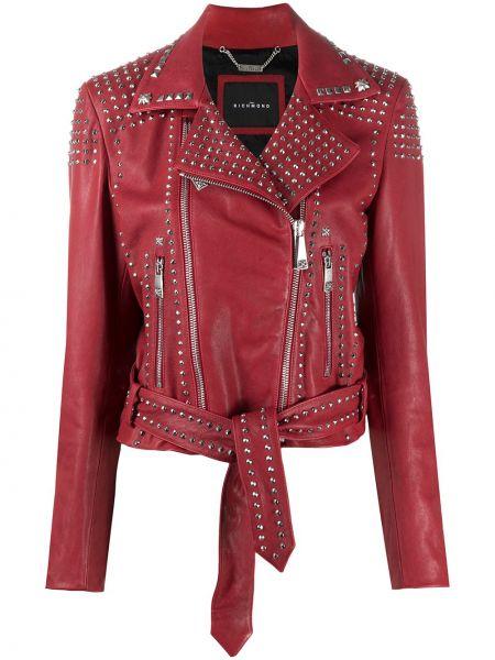 Красная кожаная куртка на молнии John Richmond
