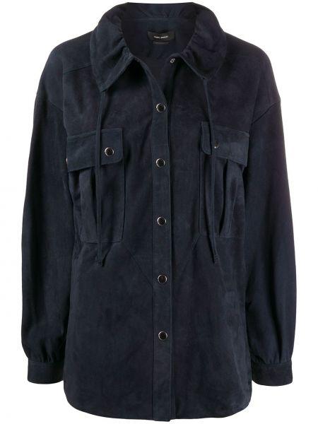 Синяя кожаная рубашка с воротником Isabel Marant