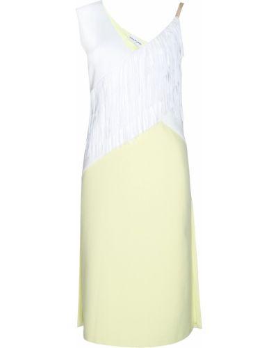 Прямое желтое шелковое коктейльное платье Chapurin