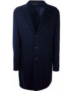 Классическое синее длинное пальто с воротником на пуговицах Loro Piana