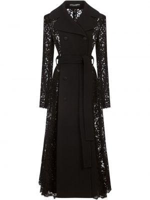 Шерстяное черное пальто двубортное Dolce & Gabbana
