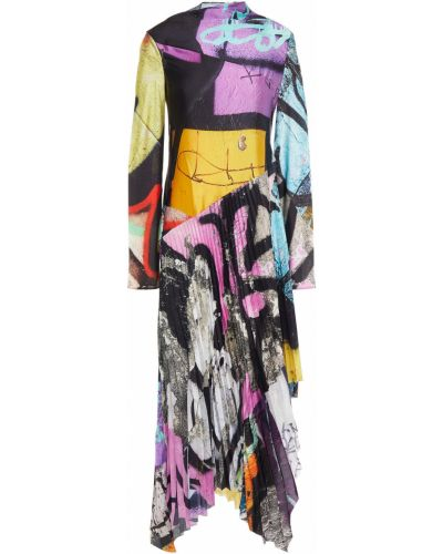 Satynowa sukienka midi asymetryczna Marques Almeida
