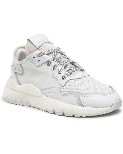 Białe spodnie skorzane Adidas
