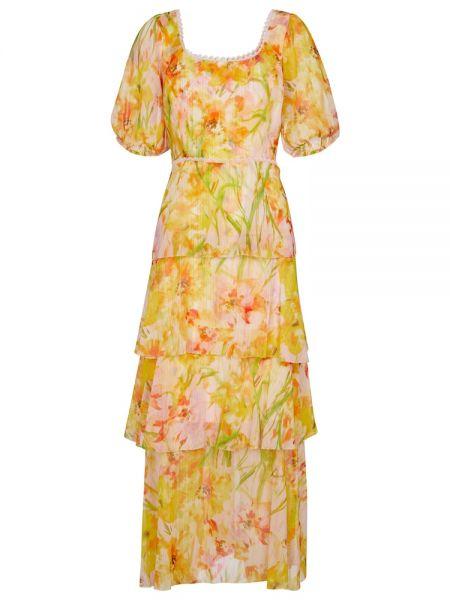 Шифоновое желтое платье макси круглое Marchesa Notte