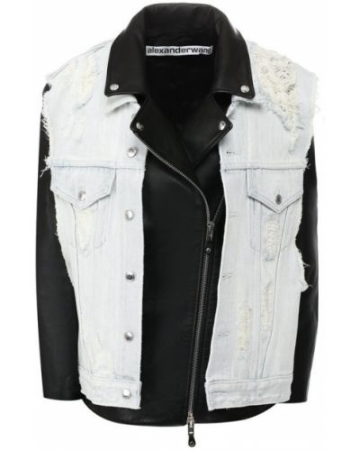 Кожаная куртка черная Alexander Wang