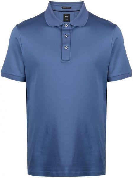 Niebieska koszula bawełniana krótki rękaw Boss Hugo Boss
