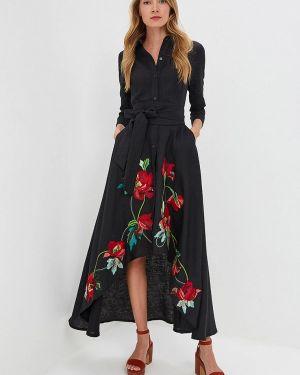 Платье платье-рубашка черное Yukostyle