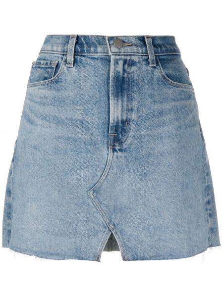 Синяя прямая джинсовая юбка с карманами J Brand
