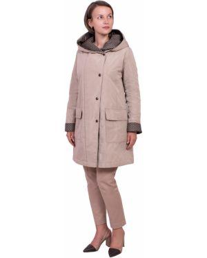 Пальто с капюшоном с накладными карманами айвори на пуговицах двубортное J-splash