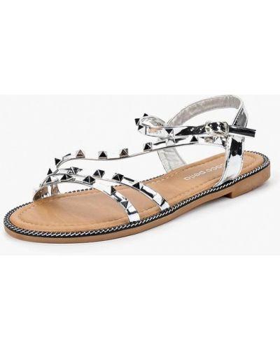 Лаковые серебряные кожаные сандалии Coco Perla