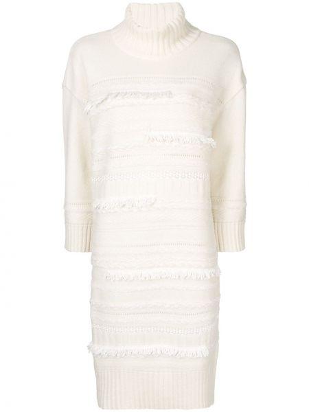 Белое платье миди в рубчик твидовое с вырезом Coohem