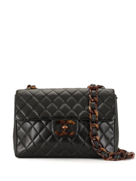 Кожаная стеганая черная сумка на плечо Chanel Pre-owned