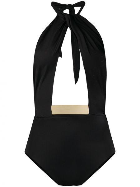 Открытый черный слитный купальник с открытой спиной Moeva