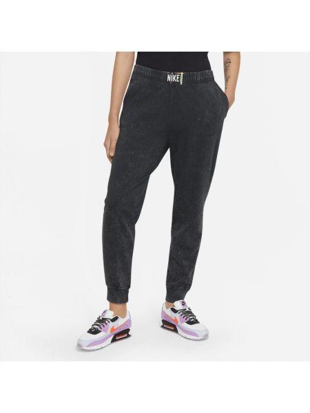 Spodnie z wysokim stanem ocieplane bawełniane Nike