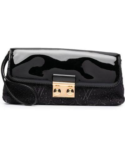 Czarna złota kopertówka z haftem Louis Vuitton