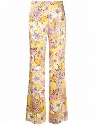 Желтые прямые брюки в цветочный принт Sandro Paris