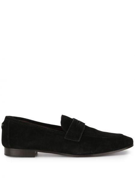 Czarne loafers zamszowe płaska podeszwa Bougeotte