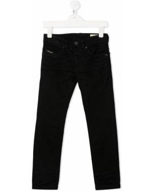 Классические прямые черные джинсы с поясом Diesel Kids
