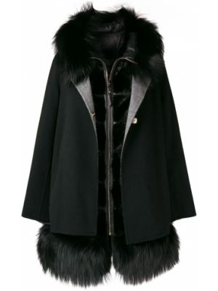 Норковая черная длинная куртка круглая с круглым вырезом Cara Mila