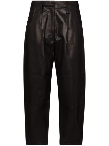 Прямые черные с завышенной талией брюки с защипами Frame