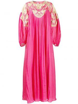 Плиссированное розовое платье с вышивкой с вырезом Alberta Ferretti
