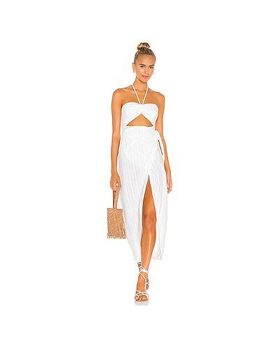 Белое шелковое платье на бретелях Lspace