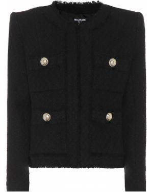 Пиджак черный твидовый Balmain