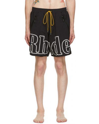 С кулиской черные шорты для плаванья с карманами Rhude