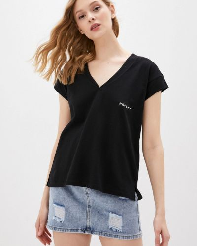 Черная футболка с короткими рукавами Replay