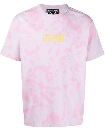Różowy t-shirt bawełniany krótki rękaw Versace Jeans Couture