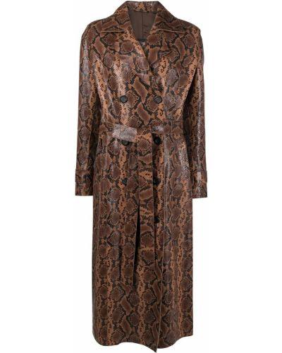 Коричневое кожаное длинное пальто двубортное Manokhi