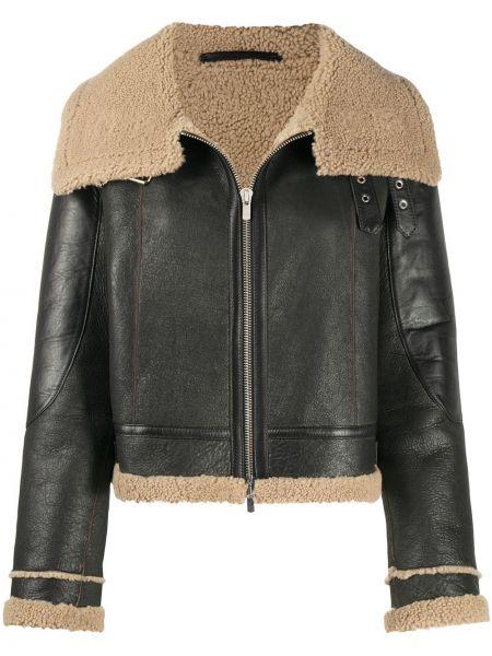 Шерстяная коричневая куртка на молнии с подкладкой Liska