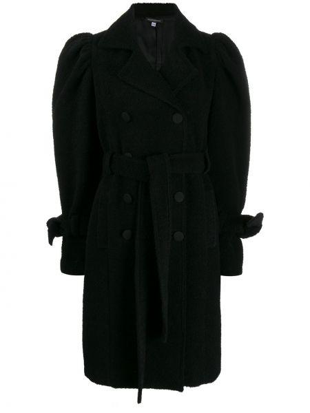Czarny płaszcz wełniany z długimi rękawami Wandering