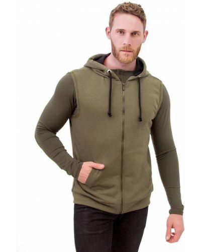 Зеленая спортивная жилетка с капюшоном на молнии Teamv
