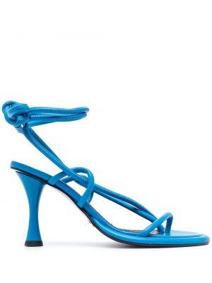 Sandały skórzane na obcasie - niebieskie Proenza Schouler