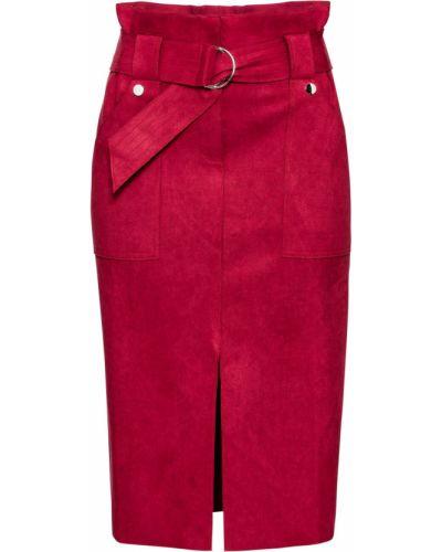 Замшевая бордовая юбка карандаш с разрезом с карманами Bonprix