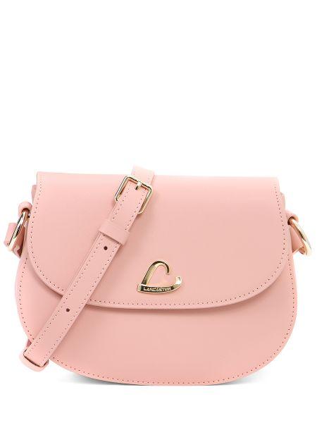 Розовая кожаная сумка круглая на молнии с карманами Lancaster